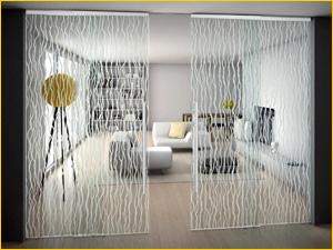 Красивая межкомнатная декоративная перегородка с матовым стеклом