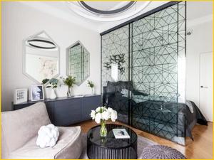 Раздвижная декоративная перегородка для зонирования комнаты