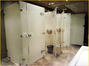 Красивые перегородки в общественном туалете из матового стекла